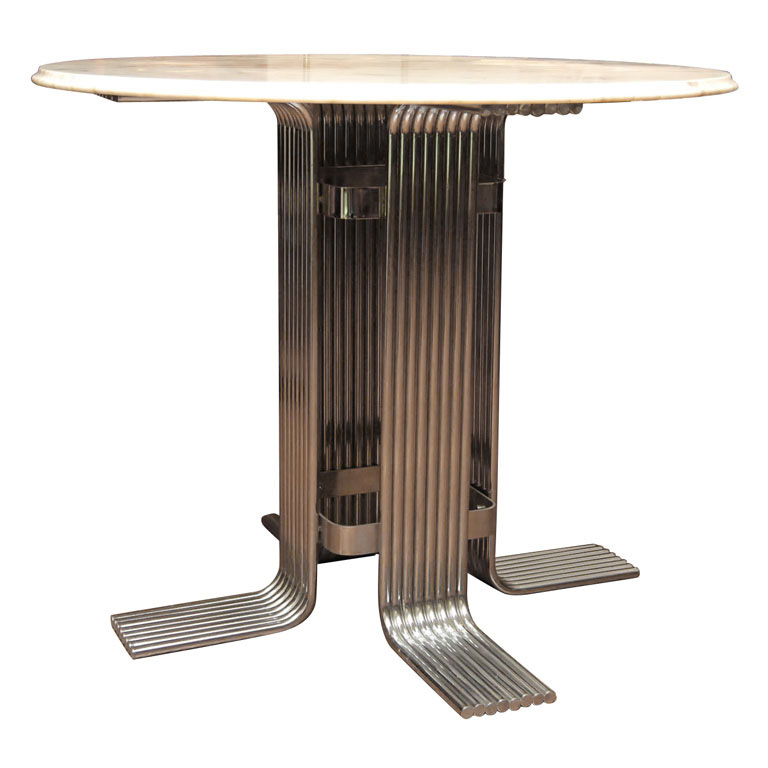 American Cararra Marble Top Table with Chrome Pedestal Base