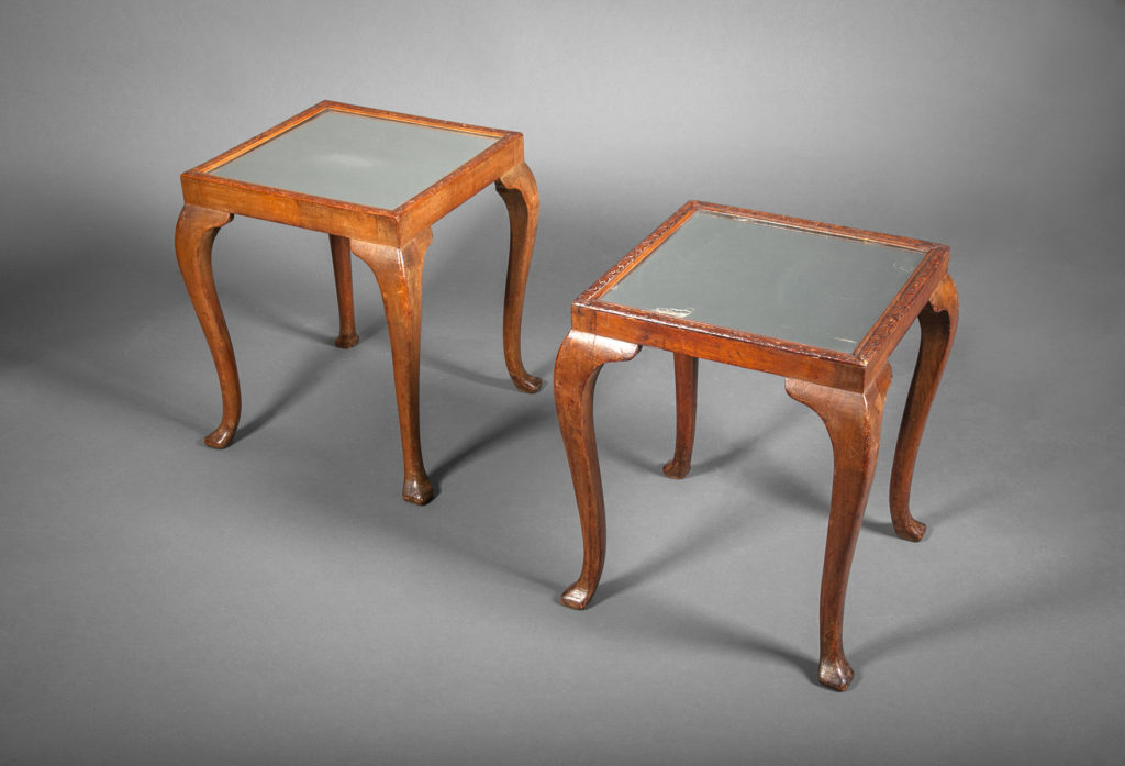 American Side Tables with Mirrored Tops