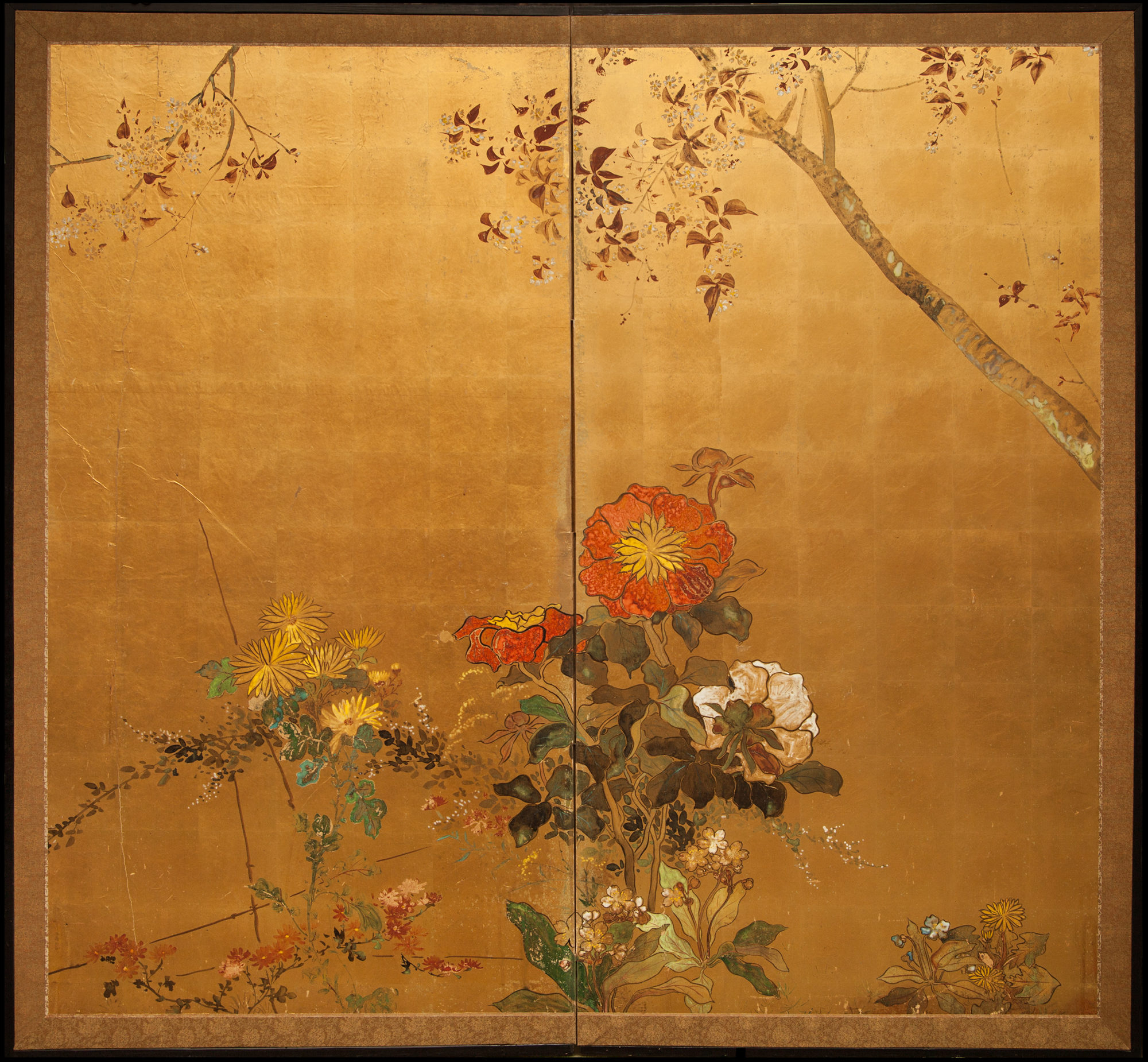 Japanese Two Panel Screen: Summer Floral Landscape on Gold