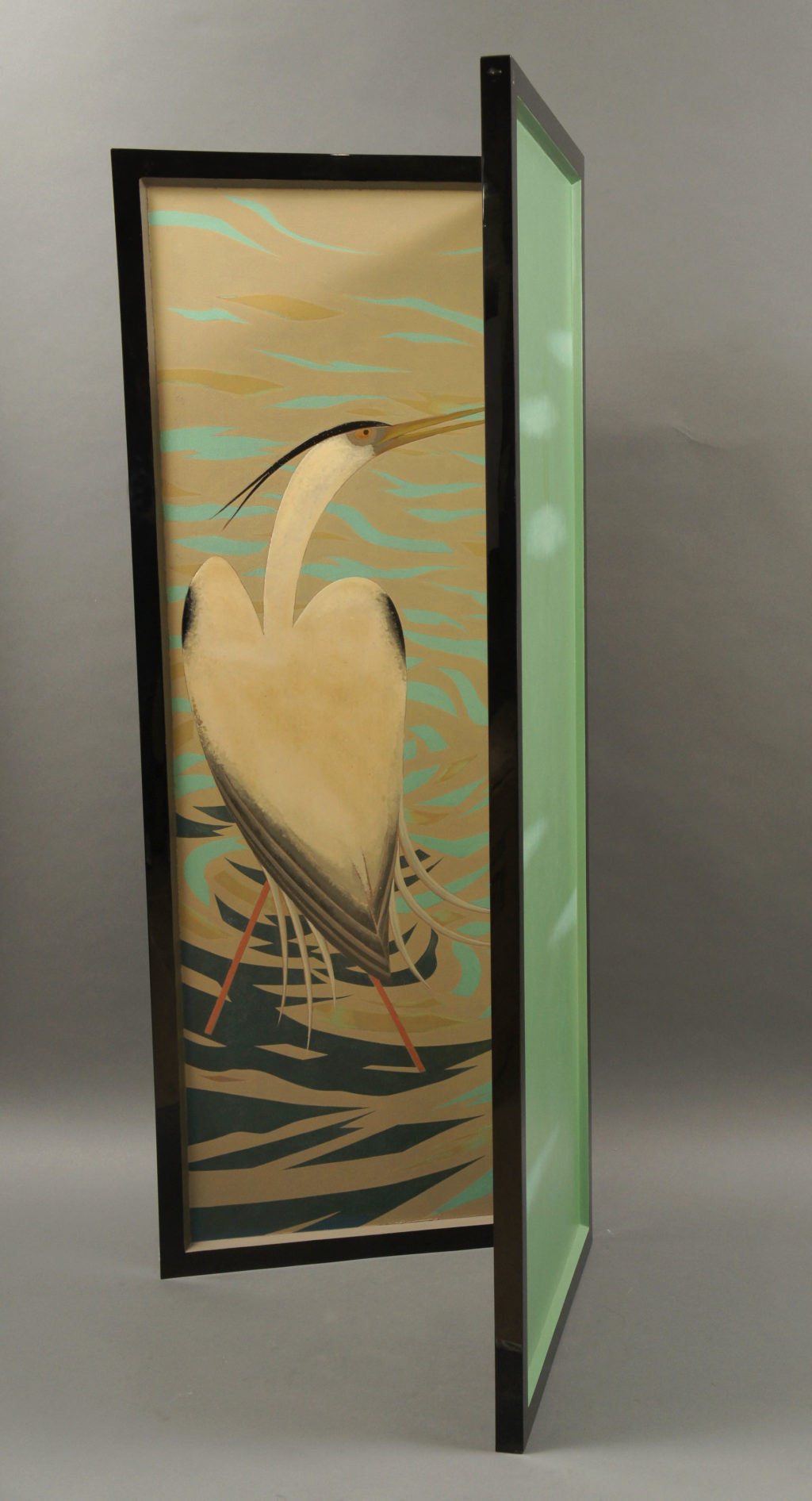 Art Deco Japanese Two Panel Lacquered Screen