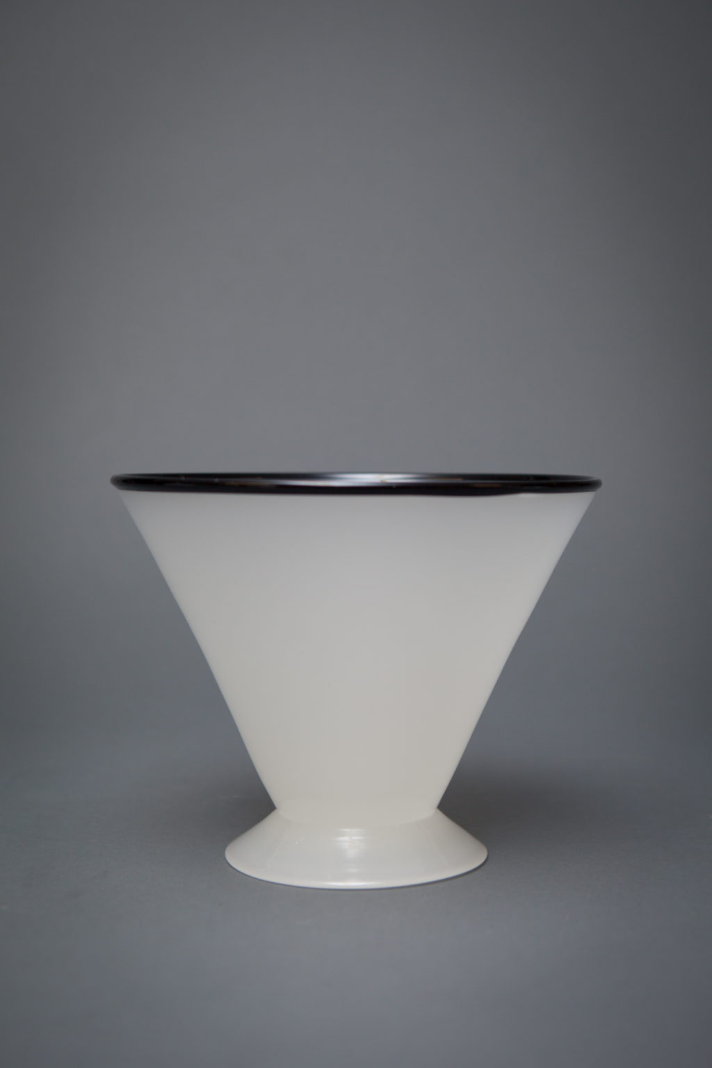 Art Glass Blacked Rimmed White Conical Form Vase