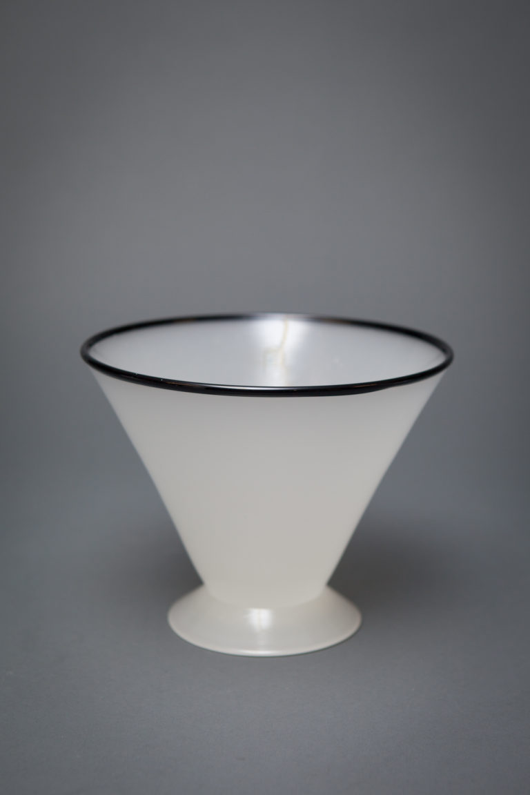 Art Glass Blacked Rimmed White Conical Form Vase