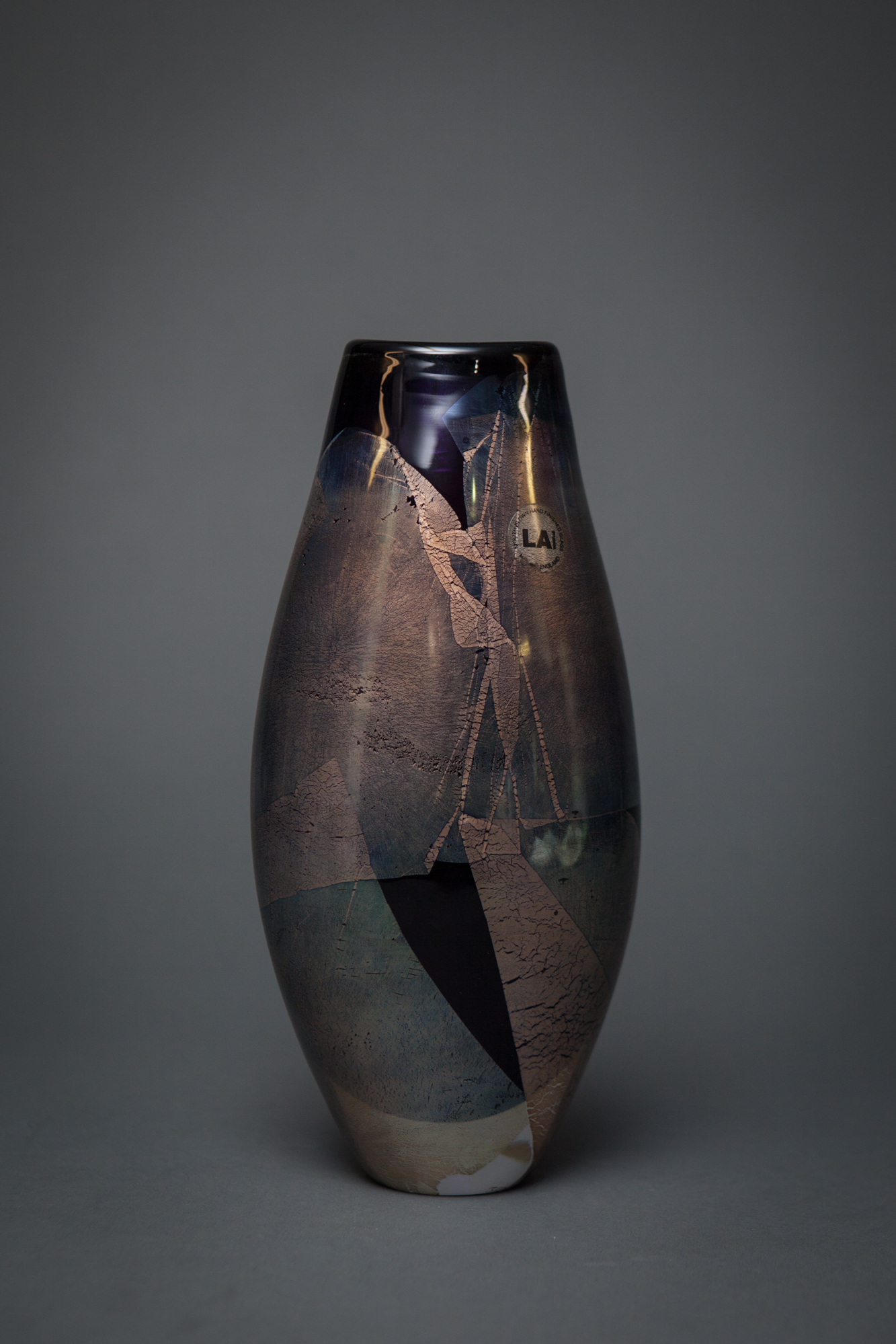 Art Glass Vase with Silver Leaf