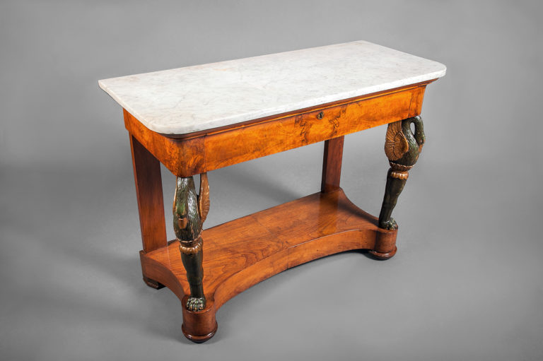 Biedermeier Continental Console Table with Carved Swan Legs