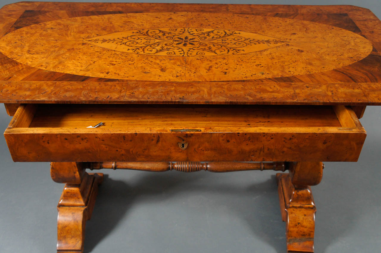 Biedermeier Desk with Burl and Inlay
