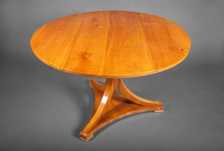 Biedermeier Style Fruitwood Dining Table with Round Top