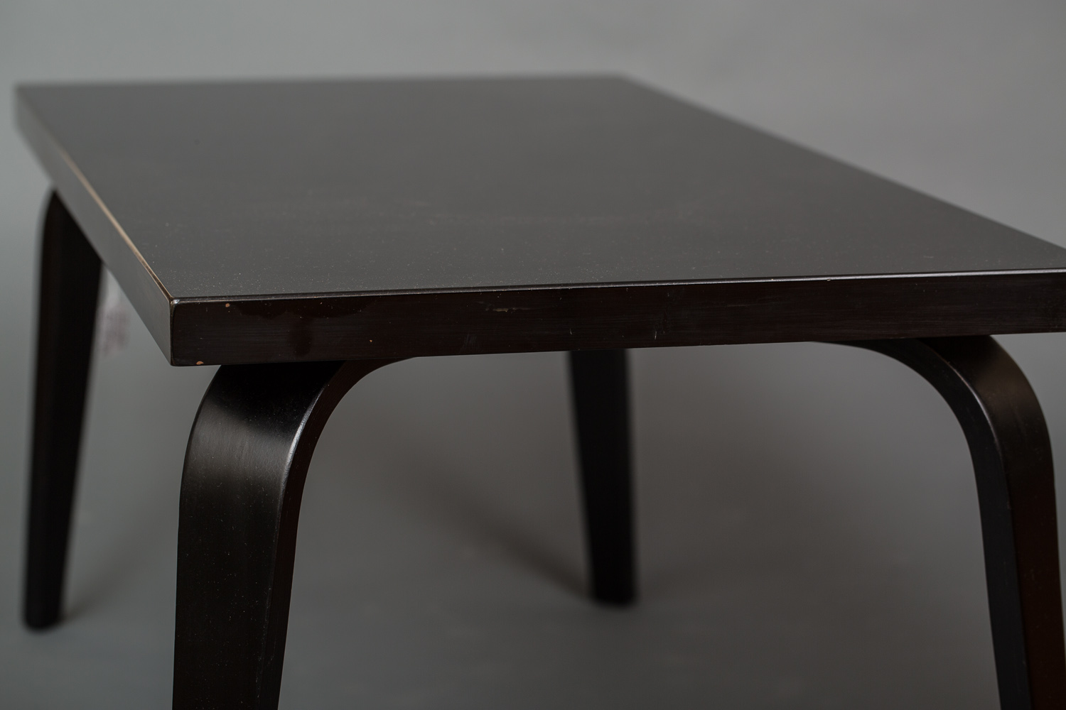 Black Lacquer Prouve Style Bent Wood Leg Table