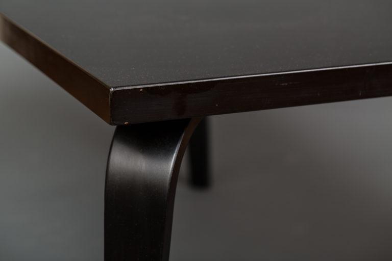 Black Lacquer Prouve Style Bent Wood Leg Table