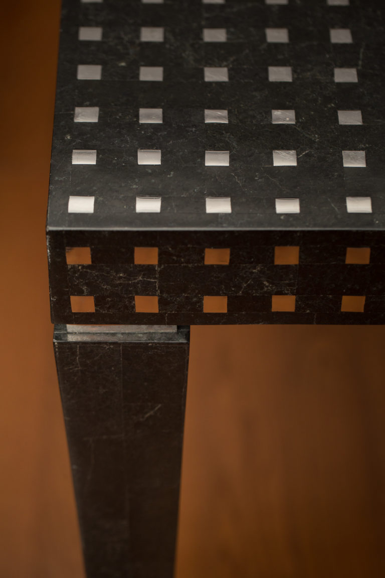 Black Marble and Chrome Veneered Square Table