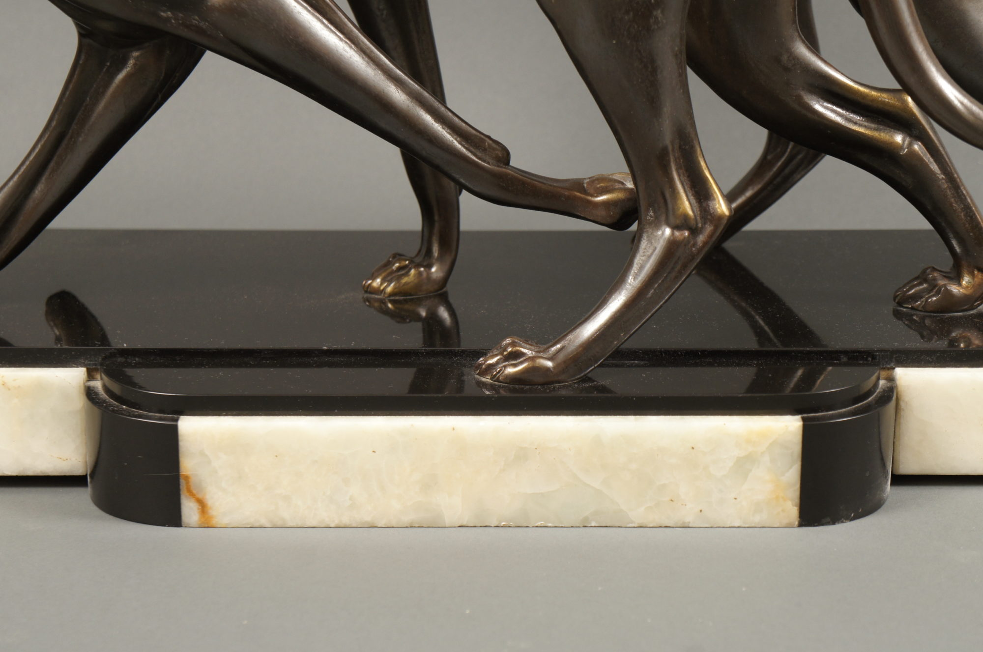 Bronze Art Deco Sculpture of a Pair of French Greyhounds