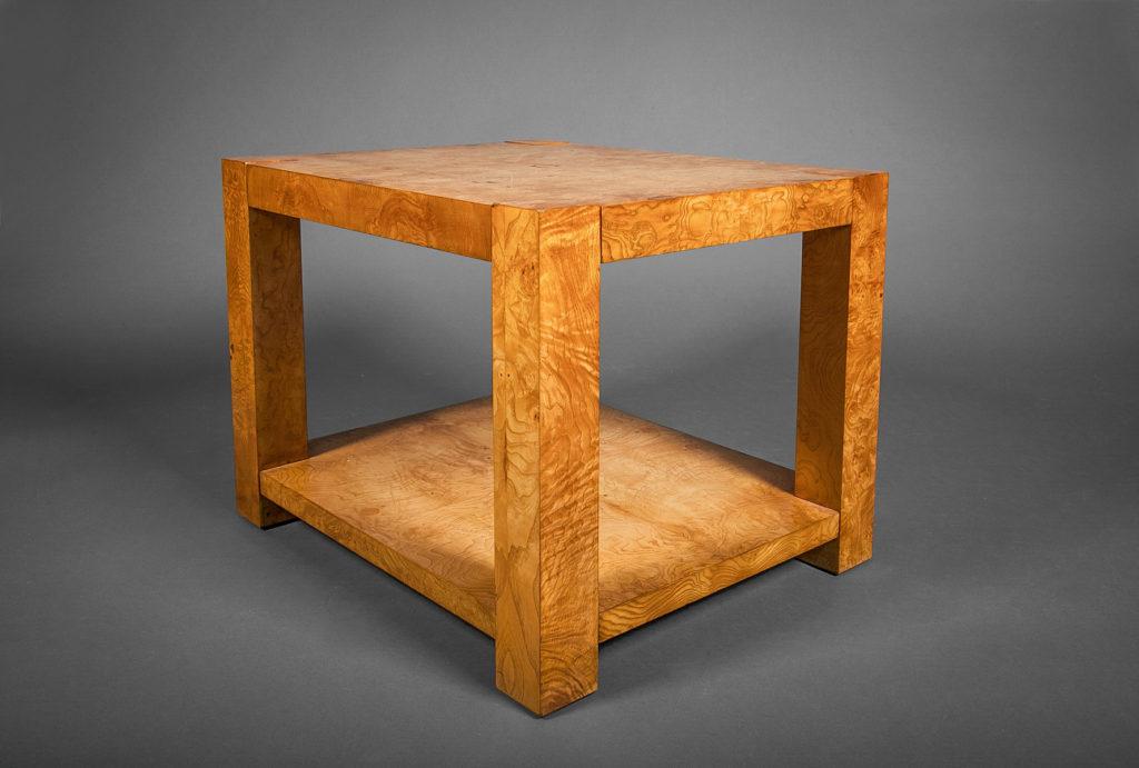 Burl Veneer Side Table