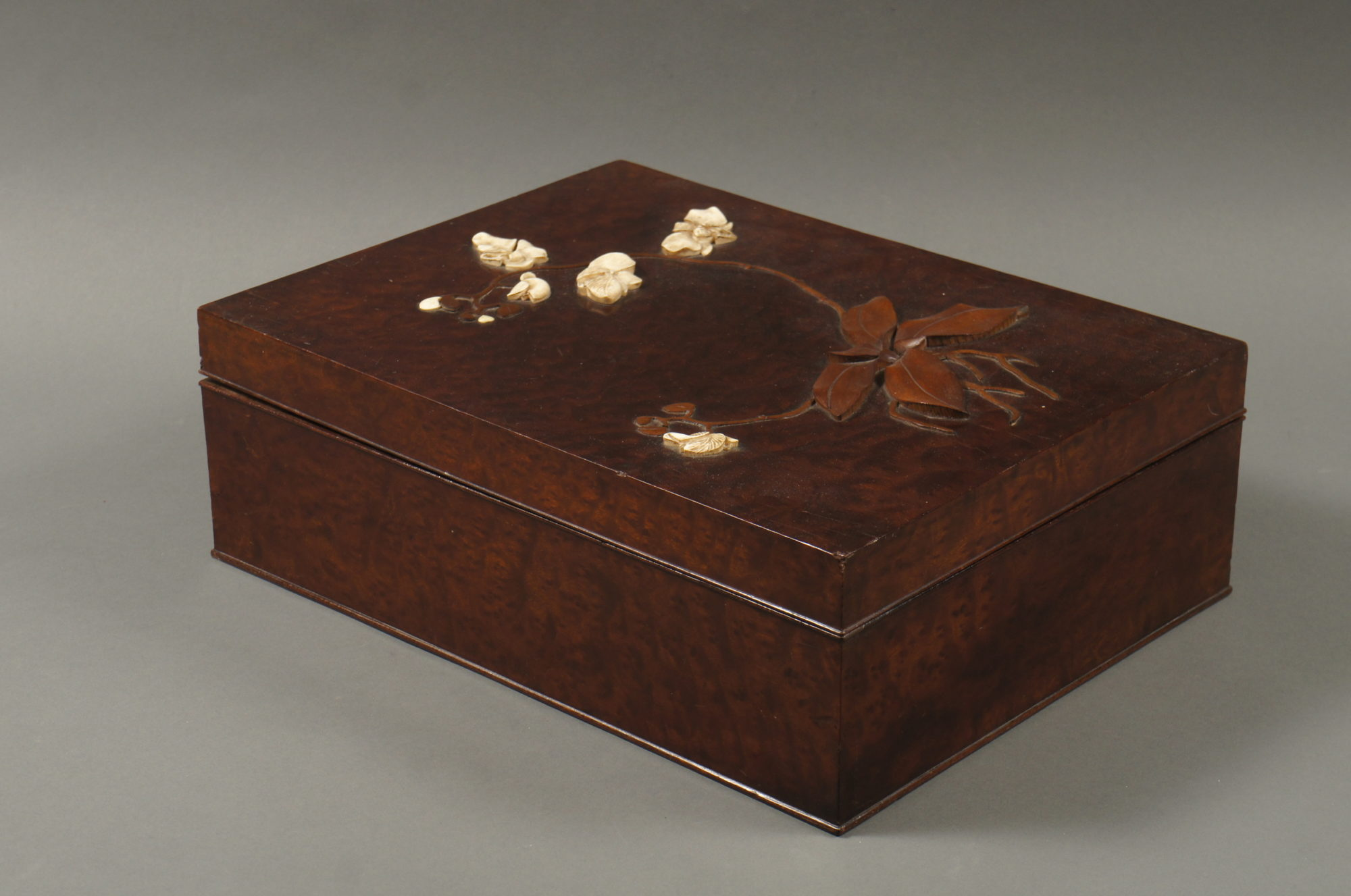 Japanese Burl Wood Document Box