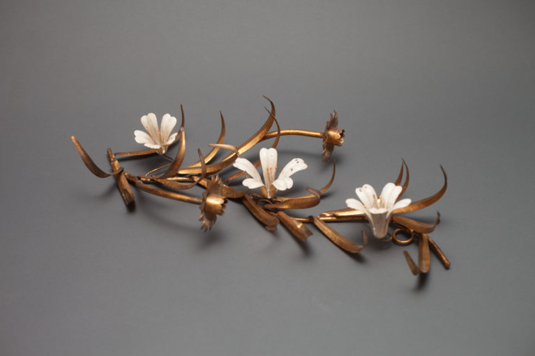 Candle Sconce with Enamel Flowers and Gilded Bronze