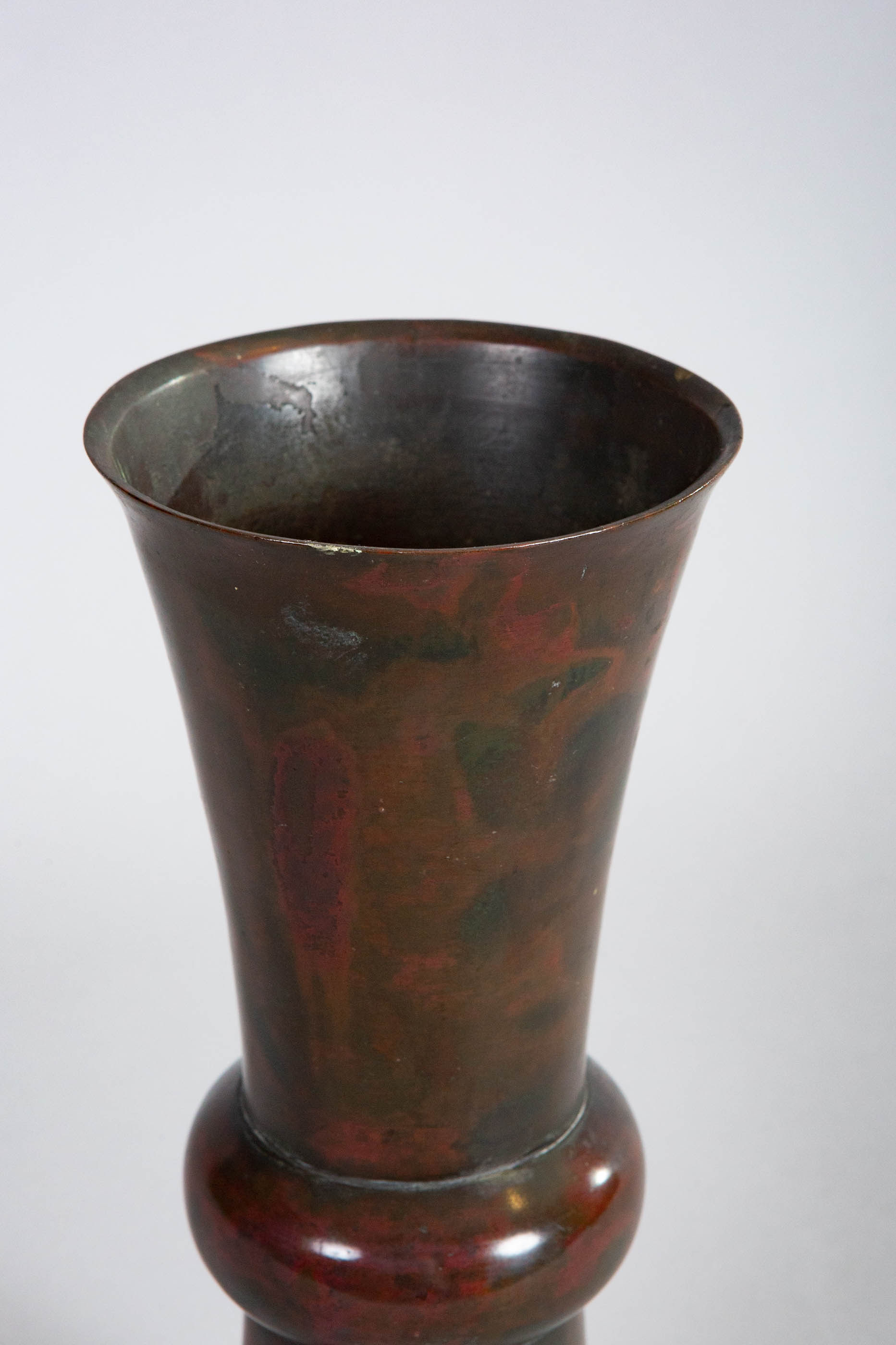 Chinese 18th Century Bronze Vase with Mottled Patina