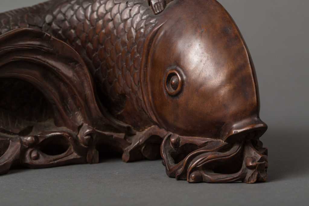 Chinese 19th Century Carving of a Boy on a Fish