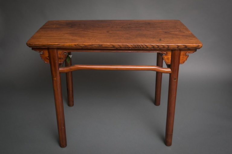 Chinese 19th Century Elmwood Table with Beautiful Wood Grain Top