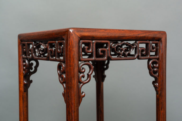 Chinese 19th Century Tall Stand with Fretwork Apron