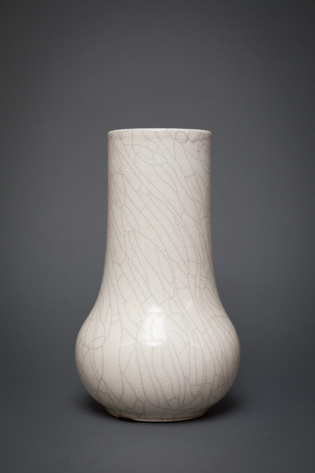 Chinese Early 20th Century White Crackled Flower Vase