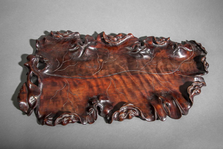Chinese Hardwood Tray in the Form of a Leaf