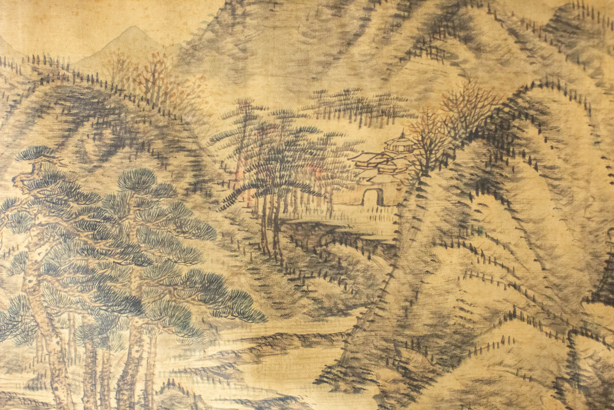 Chinese Ink Painting of Mountain Landscape