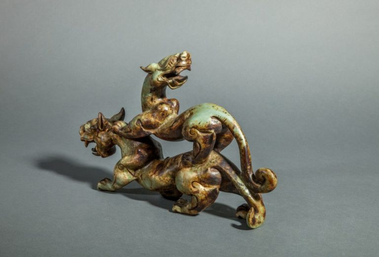 Chinese Jade Sculpture of Mythical Beasts