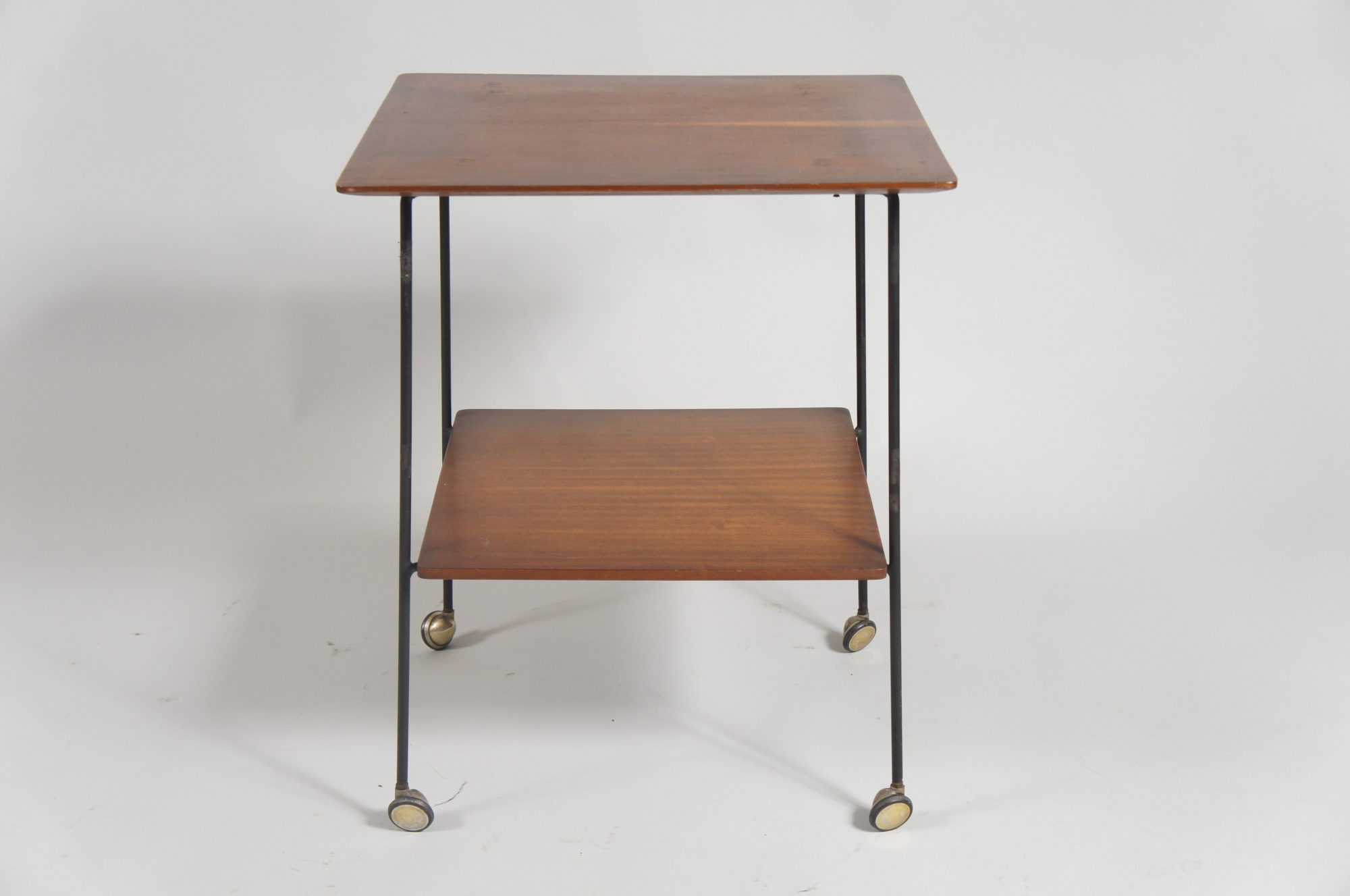 Italian Mid Century Modern Small Table on Wheels