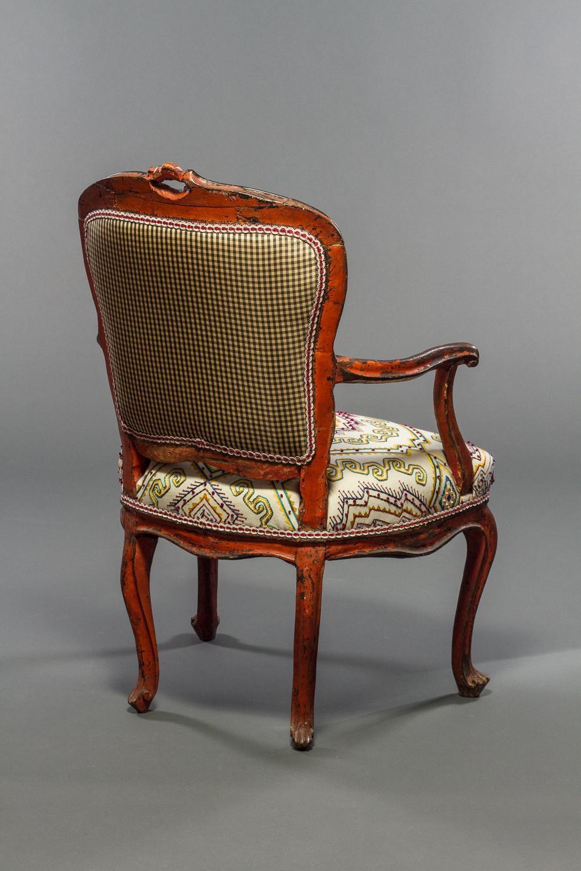 Italian Rococo Painted Fauteuil en Cabriolet