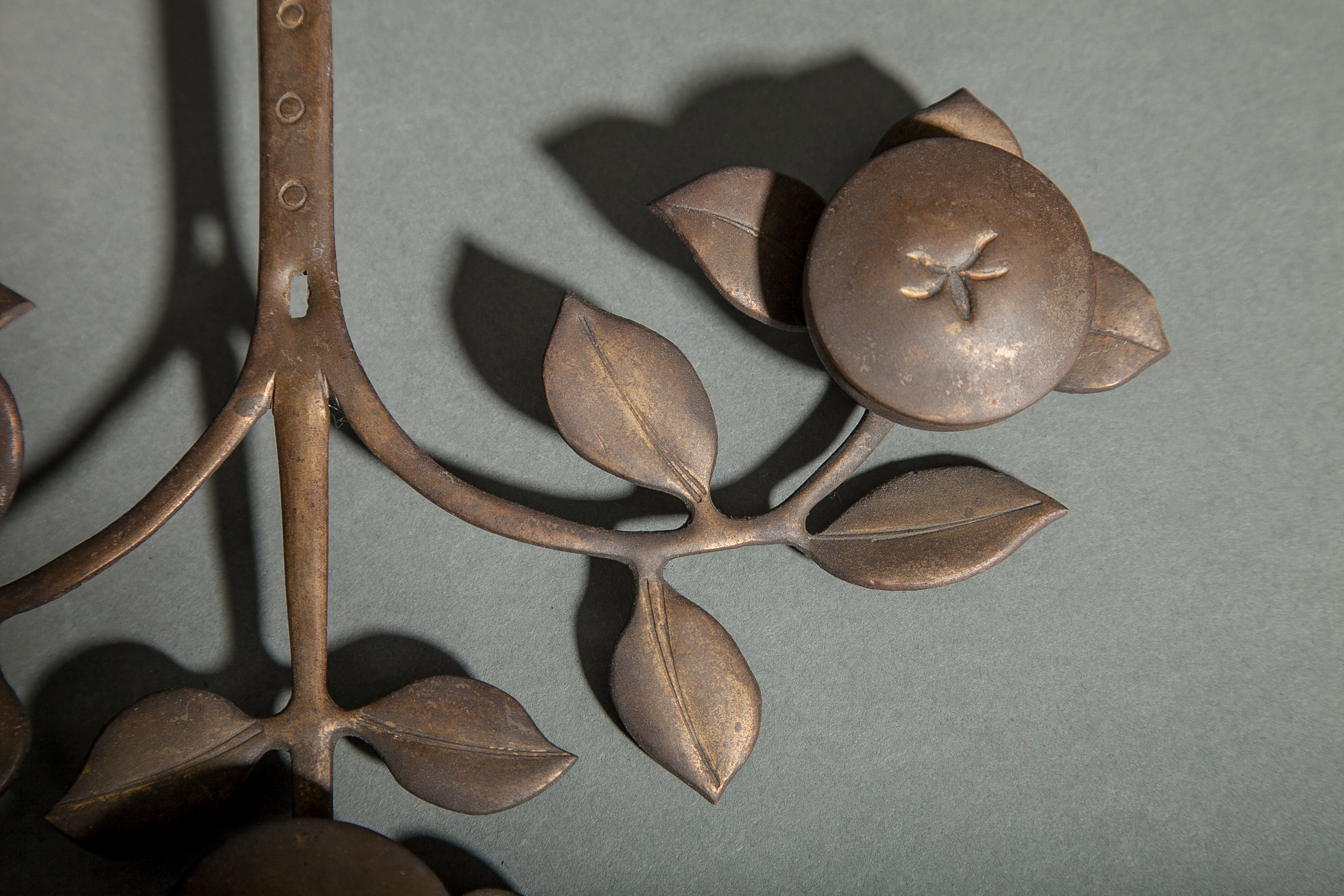 Japanese 17th Century Gilded Copper Persimmon Wall Sculpture