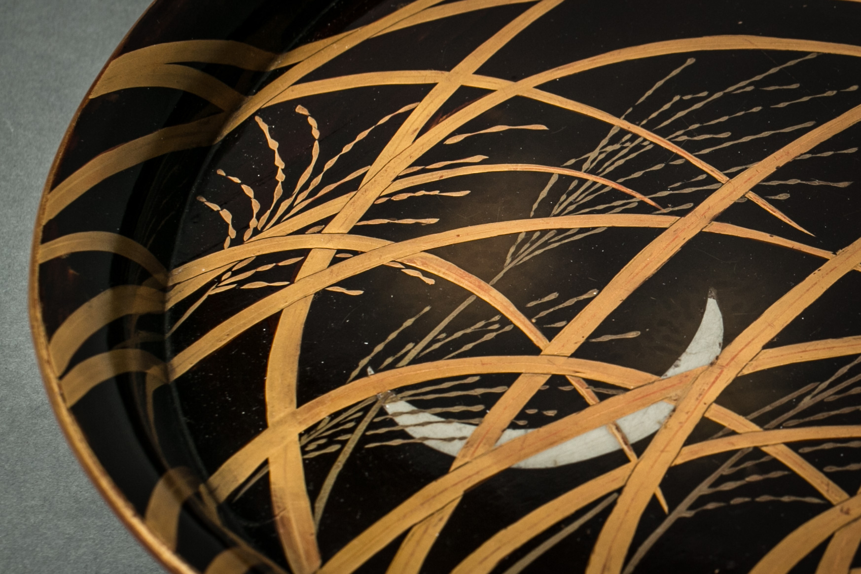 Japanese 18th Century Lacquer Tray with Moon and Grasses