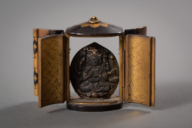 Japanese 18th Century Traveling Bosatsu Shrine for a Daimyo