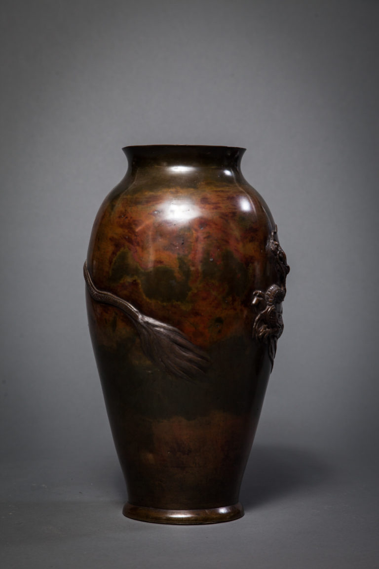 Japanese 19th Century Bronze Vase with Raised Dragon Design