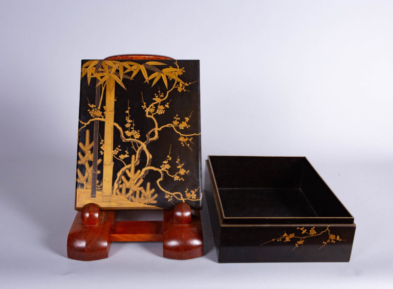 Japanese 19th Century Lacquer Letter Box With Gold Makie
