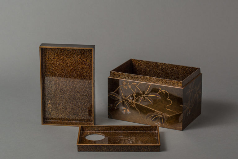 Japanese 19th Century Lacquer Tea Box (Chabako) with Flower Design