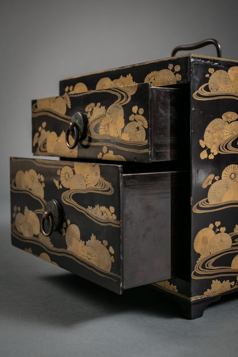 Japanese Antique Black Lacquer Cosmetic Case with Two Drawers