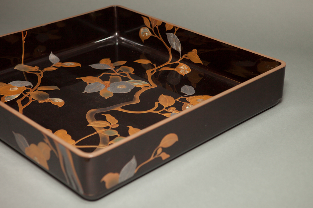 Japanese Antique Black Lacquer Kimono Tray With Camelia Branches
