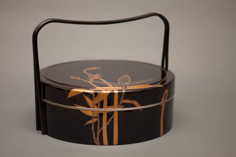 Japanese Antique Black Lacquer Round Box with Handle