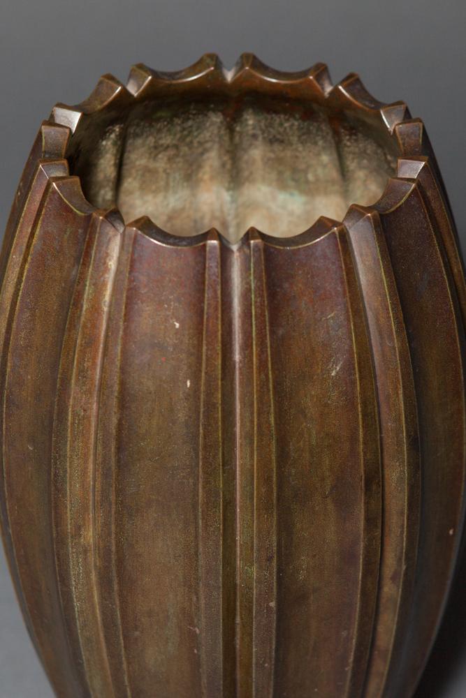 Japanese Antique Bronze Octagonal Shaped Flower Vase