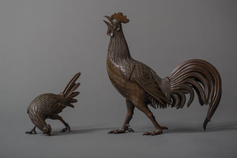 Japanese Antique Bronze Pair of Chickens, Cock and Hen