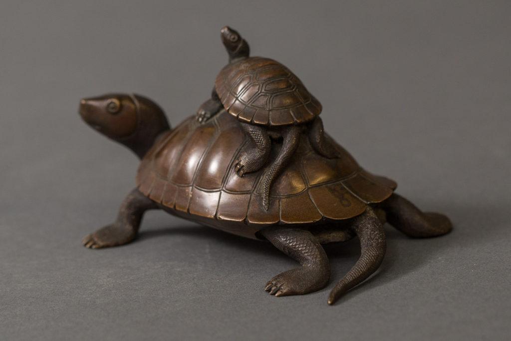 Japanese Antique Bronze Sculpture of Turtles