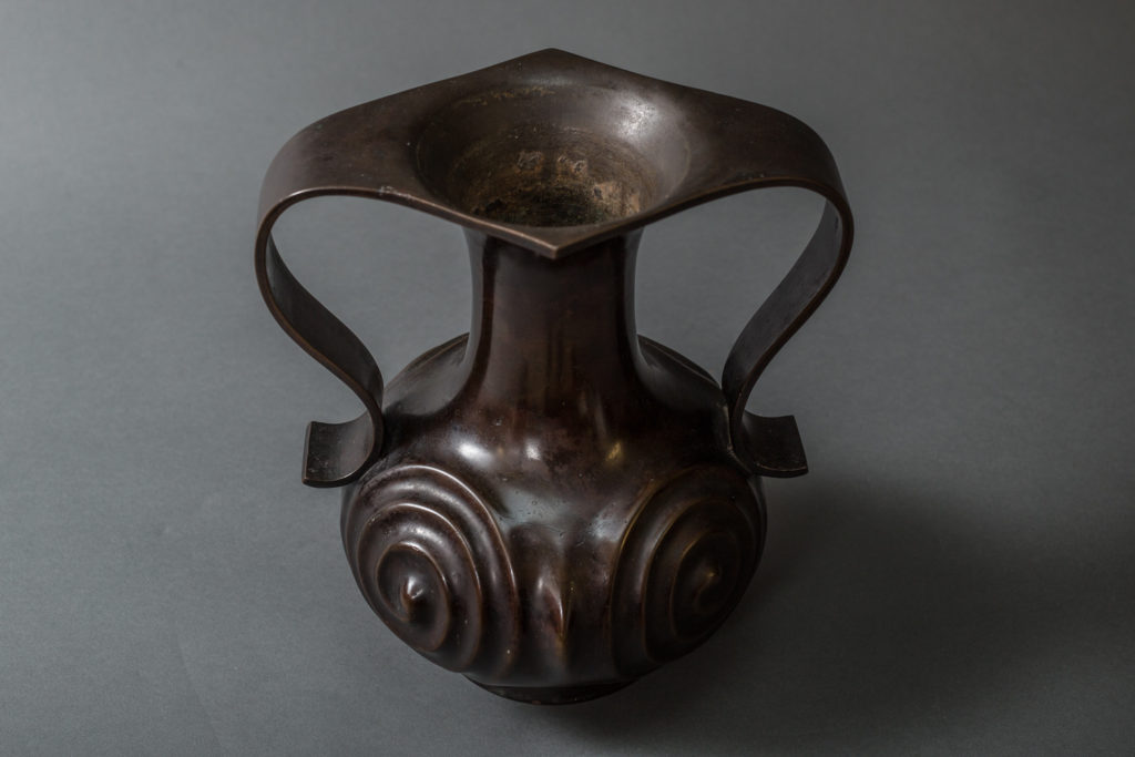 Japanese Antique Bronze Vase with Archaic Swirl Design and Large Handles