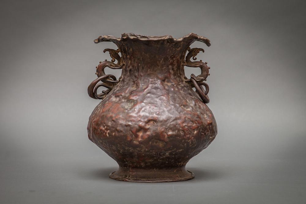 Japanese Antique Cast Bronze Vase with Dragon Handles