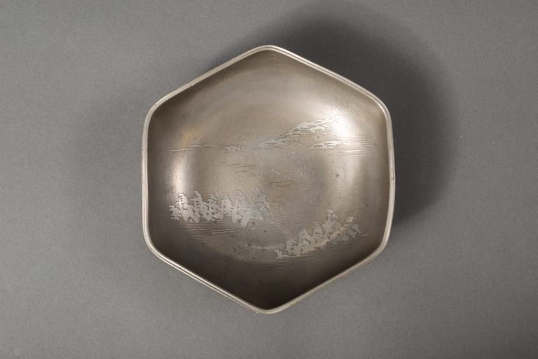 Japanese Antique Faceted Pewter Bowl