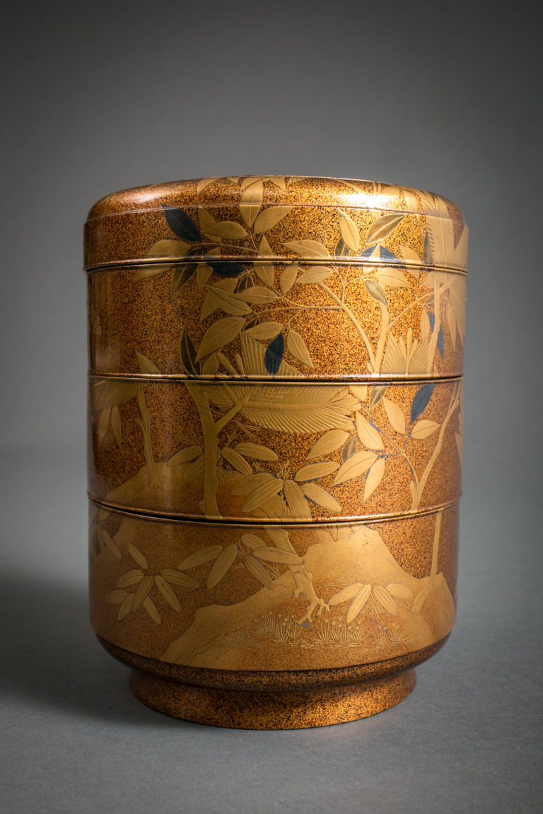 Japanese Antique Gold Lacquer Four-Tier Jubako