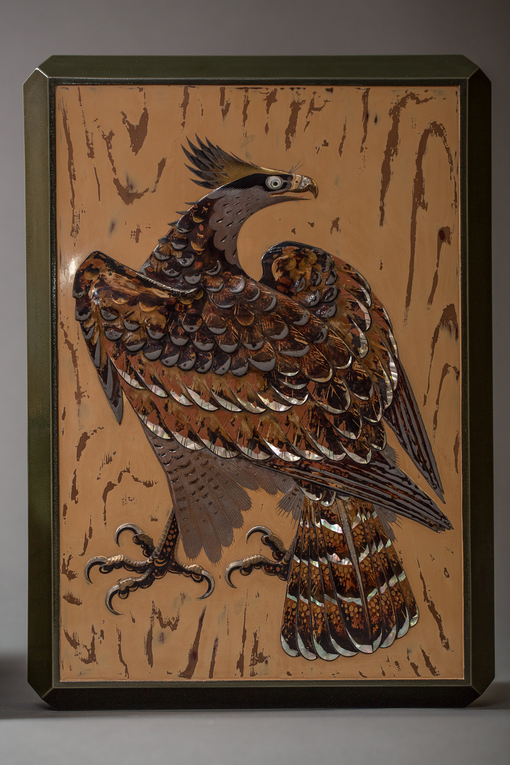 Japanese Antique Lacquer Document Box with Elaborate Hawk and Oak Design