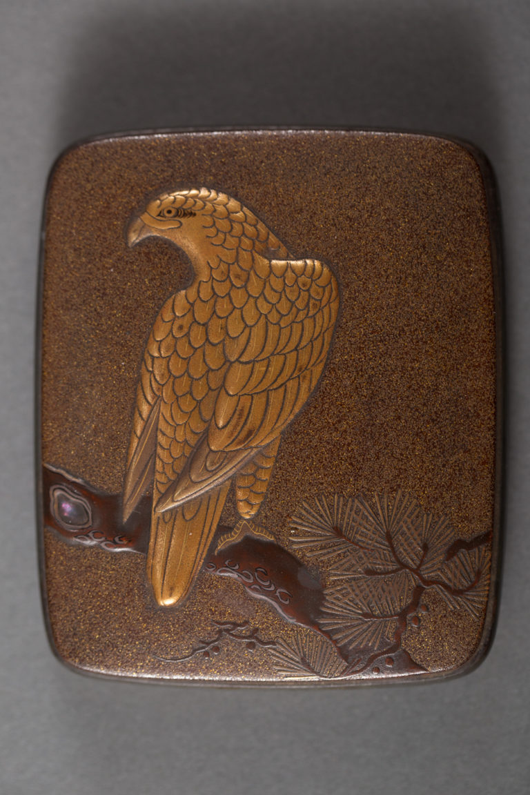 Japanese Antique Lacquer Incense Container (Kogo) with Hawk