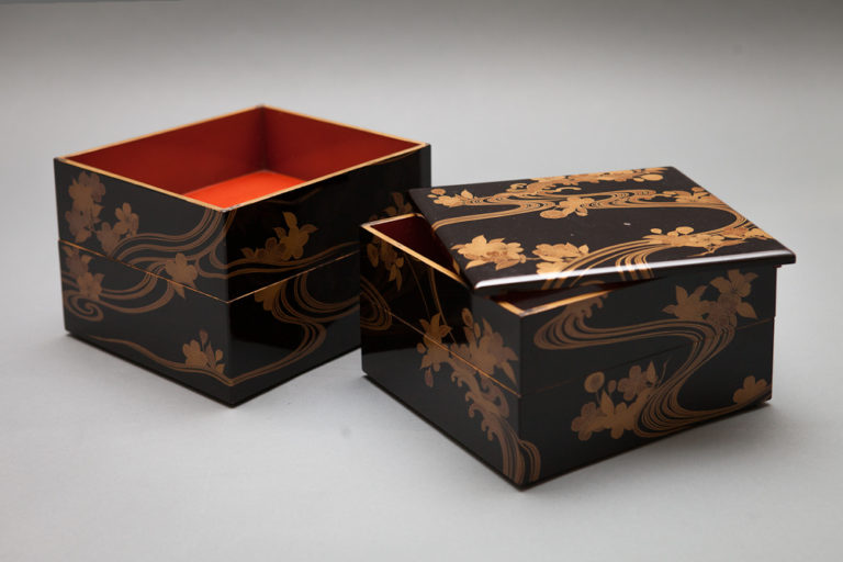 Japanese Antique Lacquer Stacking Boxes With Cherry Blossom and Stream Design