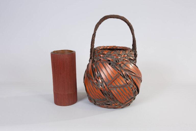 Japanese Antique Large Bamboo Basket for Flower Arranging (Ikebana)