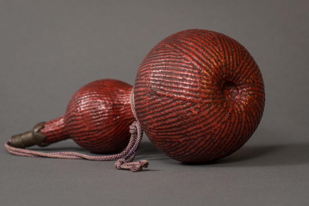 Japanese Antique Red Lacquer Wood Carving of a Gourd