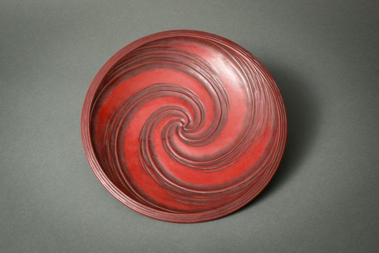 Japanese Antique Yokohama Red Lacquer Dish