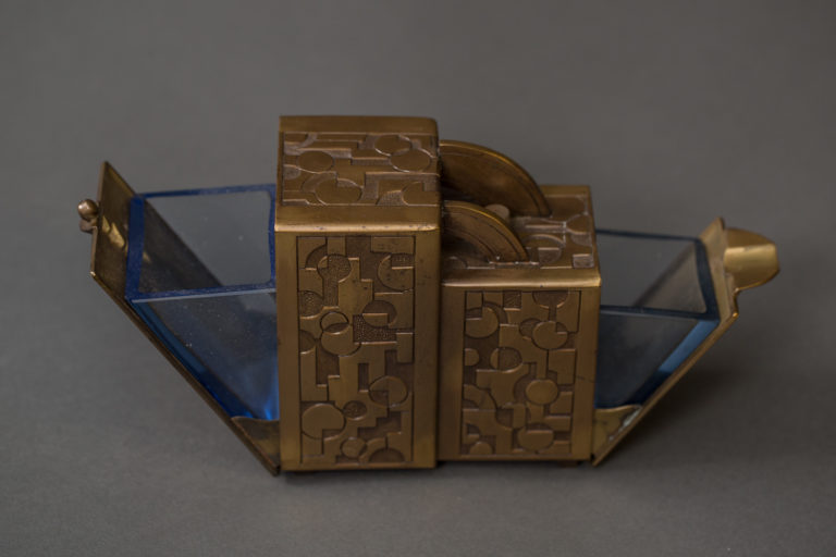 Japanese Art Deco Bronze Cigarette Caddy and Ashtray